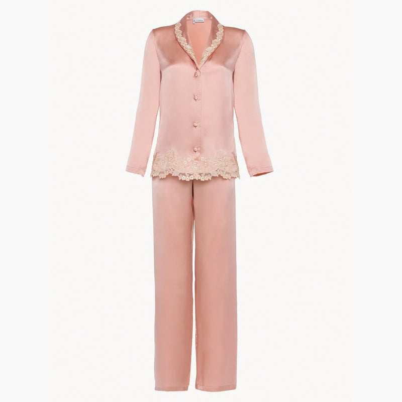 MAISON Pink silk pyjamas with frastaglio