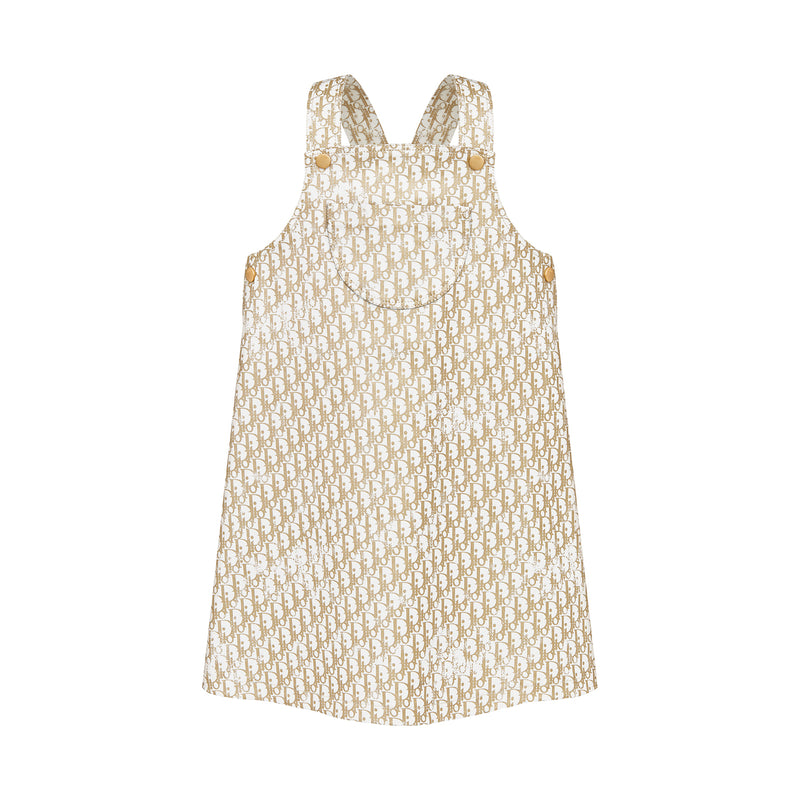 Printed Stretch Cotton Gabardine Pinafore Dress