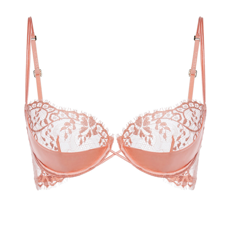 EXOTIQUE Pink Underwired Balconette Bra with Leavers Lace Trim