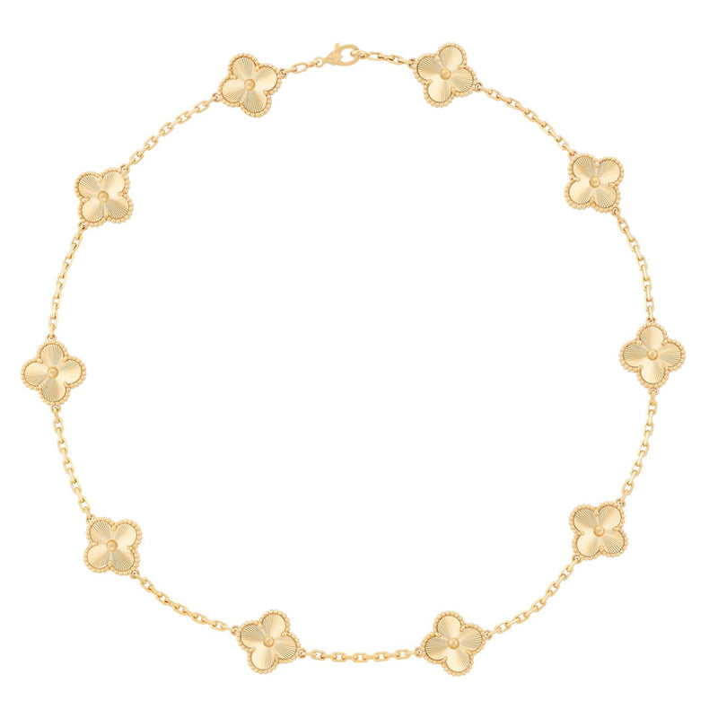 Vintage Alhambra 10 Motif Necklace, Yellow Gold Guilloché