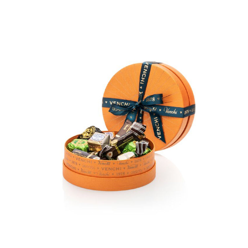 Assortment of 200g Chocolates Round Orange Box