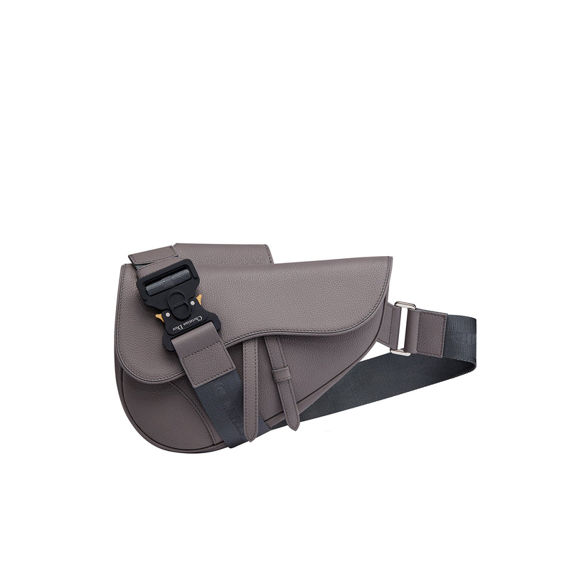 Saddle Bag in Grained Calfskin and Christian Dior Buckle