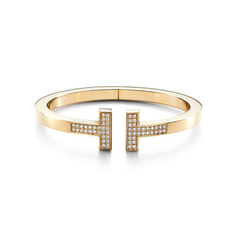 Tiffany T pavé diamond square bracelet in 18k yellow gold