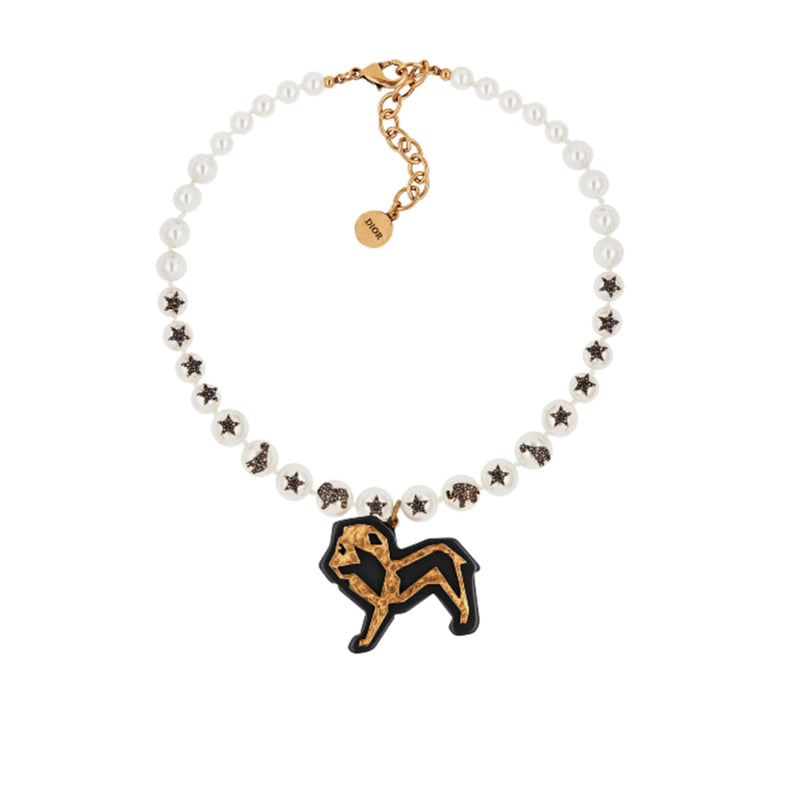 Dior Animals Lion Necklace in Metal with Antique Gold Finish, White Resin Pearls, Black Resin and Black Crystals
