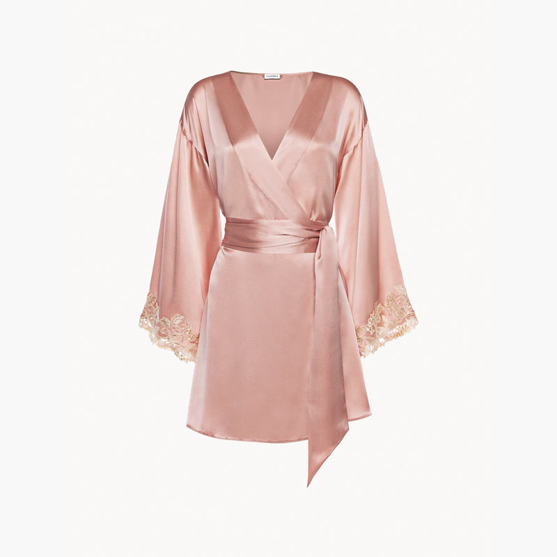 MAISON Powder pink silk satin short robe with frastaglio
