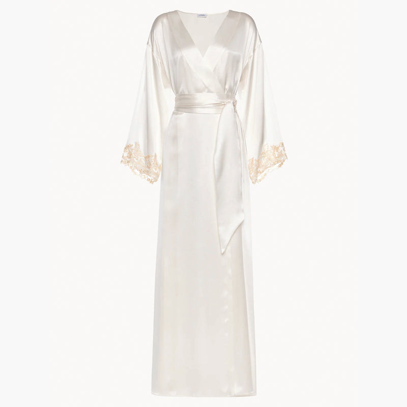 MAISON White long robe with frastaglio