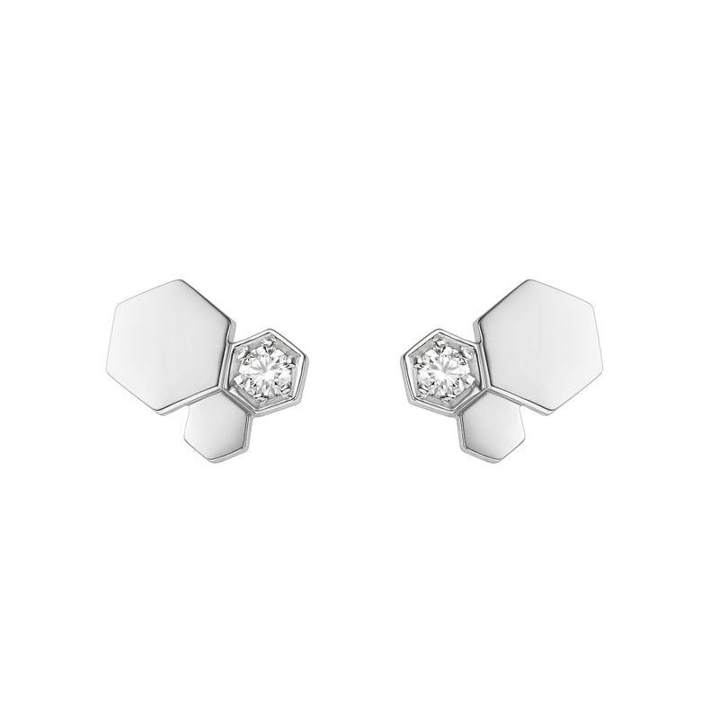 Bee My Love Stud Earrings 3 Patterns in White Gold and Diamond