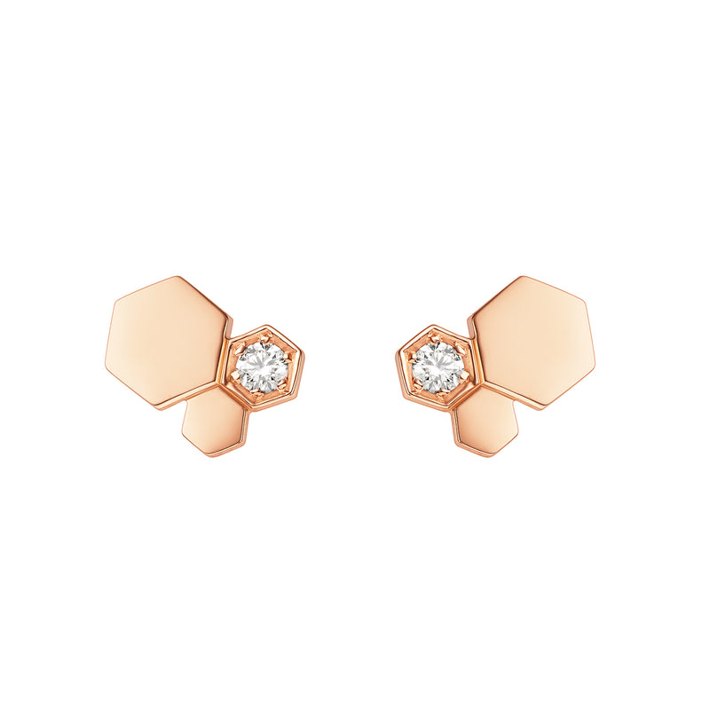 Bee My Love Stud Earrings 3 Patterns in Pink Gold and Diamond