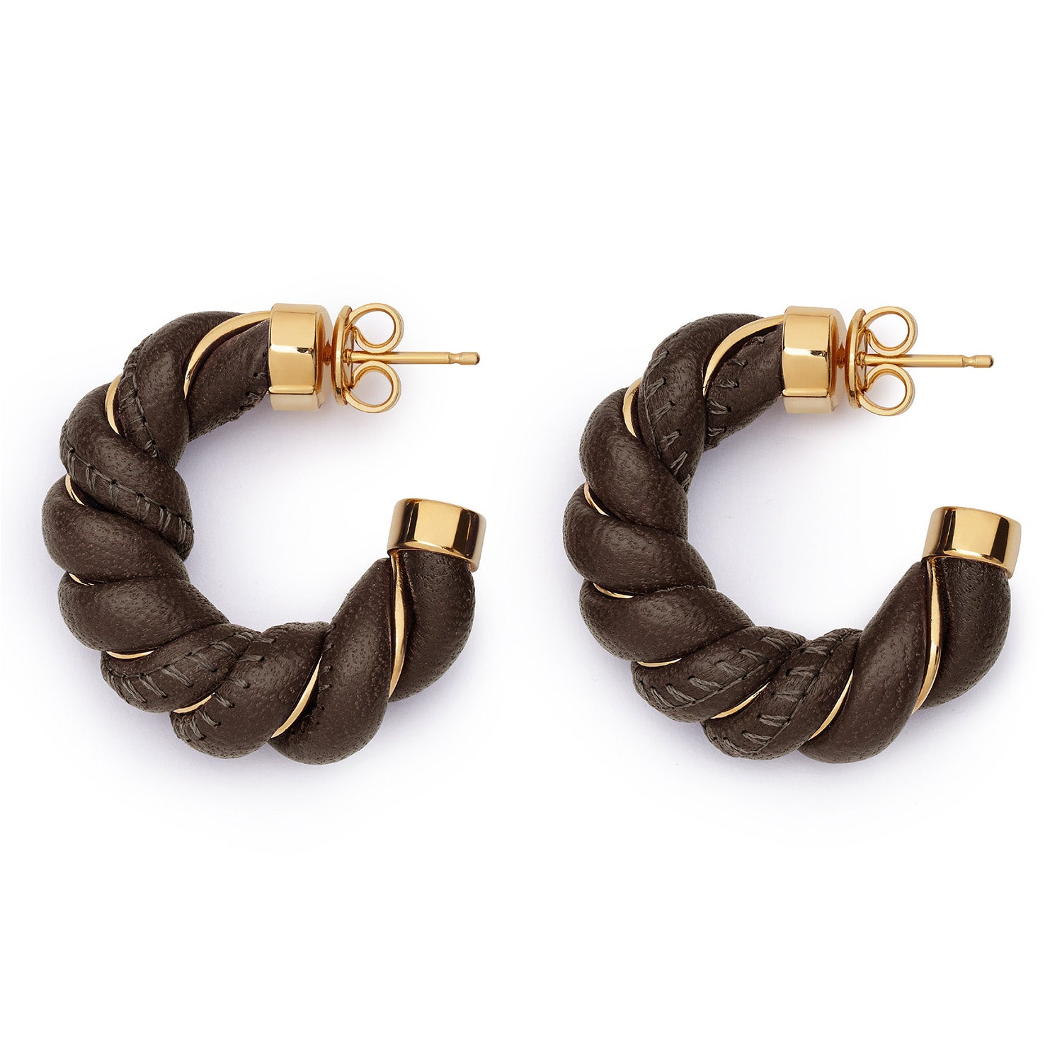 GOLD- PLATED SILVER AND NAPPA EARRINGS