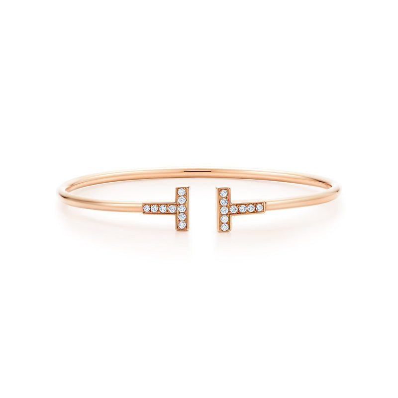 Tiffany T diamond wire bracelet in 18k rose gold