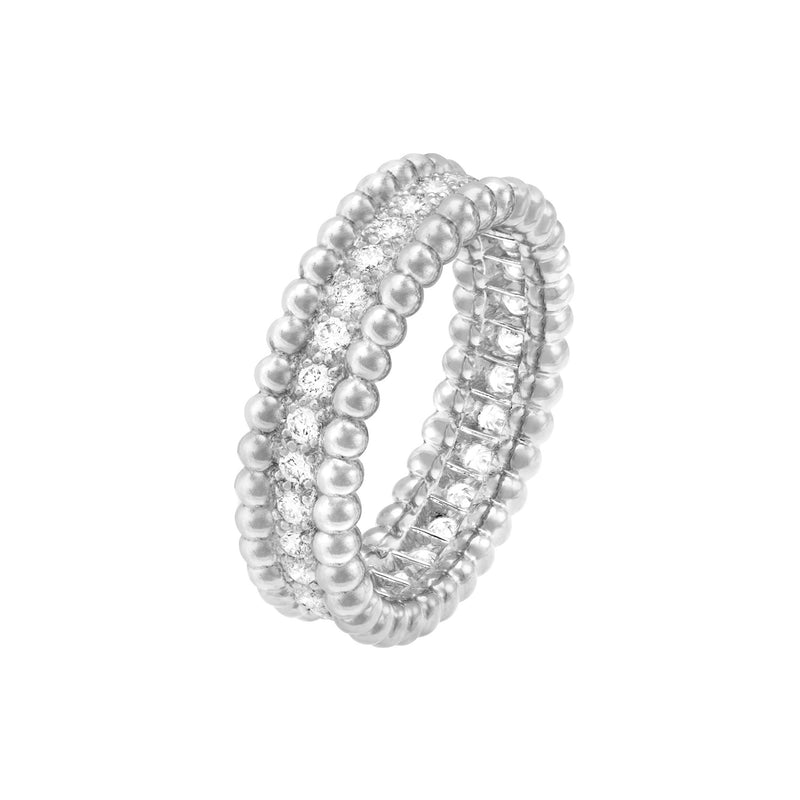 Perlée Diamonds Ring 1 Row White Gold Diamonds