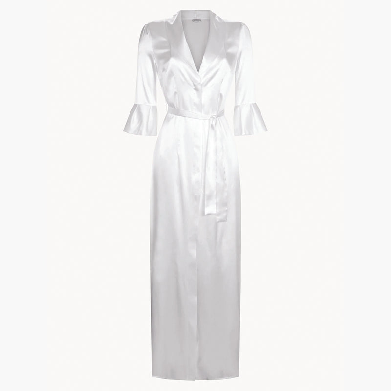 EXOTIQUE Off-white long silk belted robe