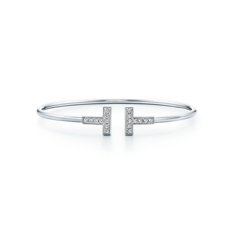 Tiffany T diamond wire bracelet in 18k white gold