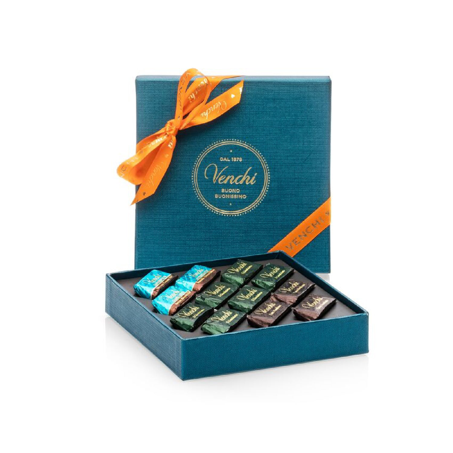 Assorted Giandujotti Petrol Blue Square Box 106g