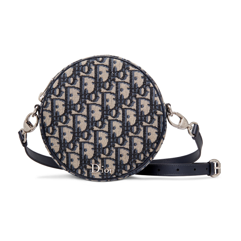 """Baby Ball"" Bag in Blue Dior Oblique Jacquard Canvas with Calfskin Strap"