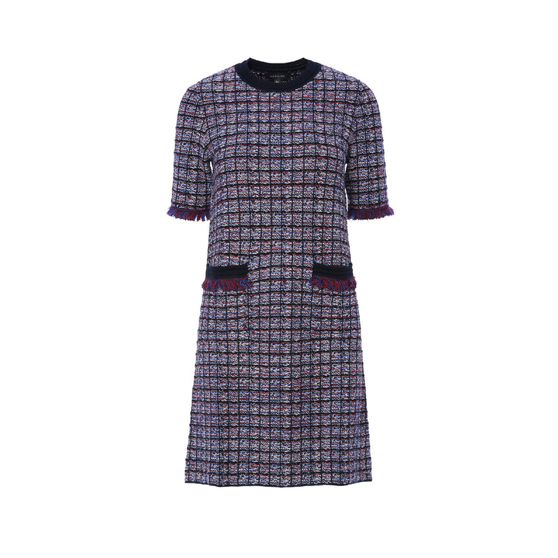 Boucle Short Sleeve Knee Length Dress with Pocket Detailing
