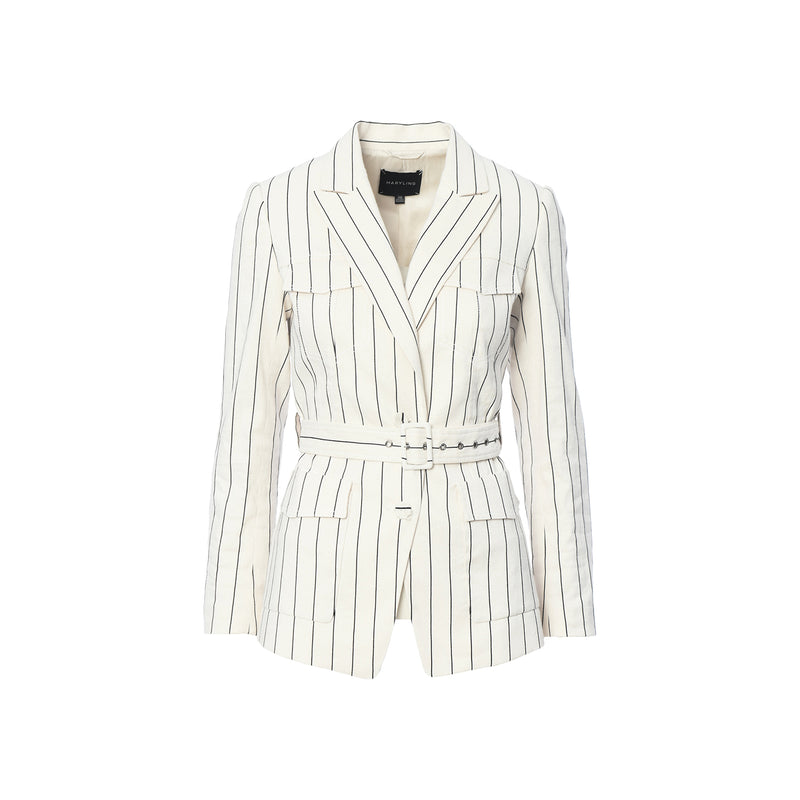 Sleeveless Light Pinstripe Jacket with Pocket and Belt Details
