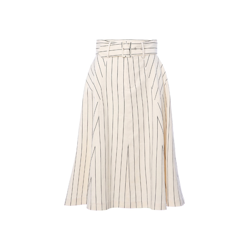 Light Pinstripe Flared Belted Skirt