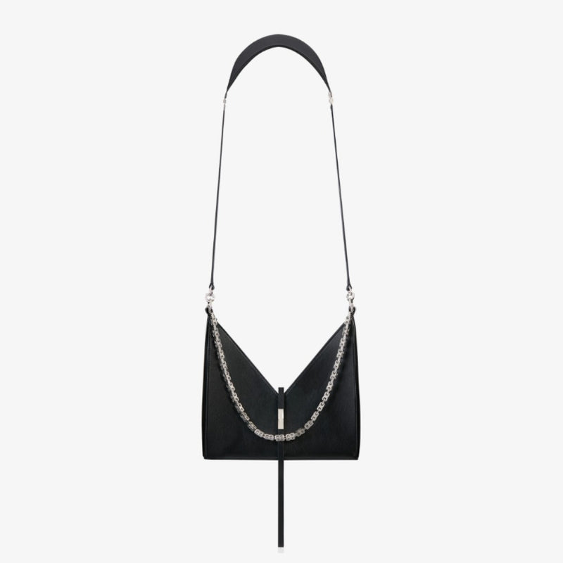 SMALL CUT OUT BAG IN BOX LEATHER WITH CHAIN IN BLACK