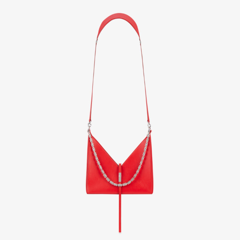 SMALL CUT OUT BAG IN BOX LEATHER WITH CHAIN IN RED