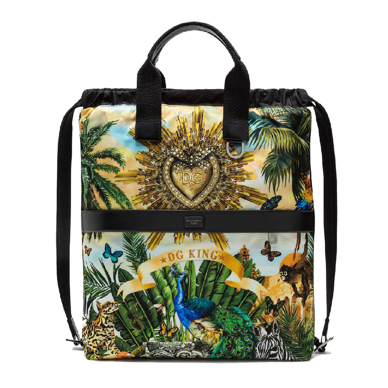Nylon Backpack with Tropical Latino Print