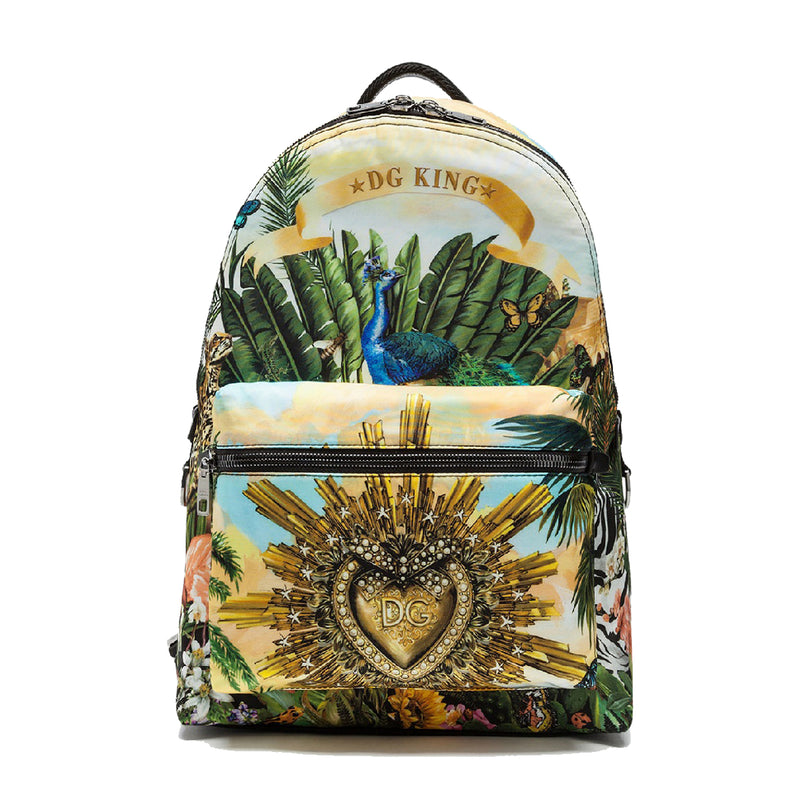 Nylon Vulcano Backpack with Tropical Latino Print