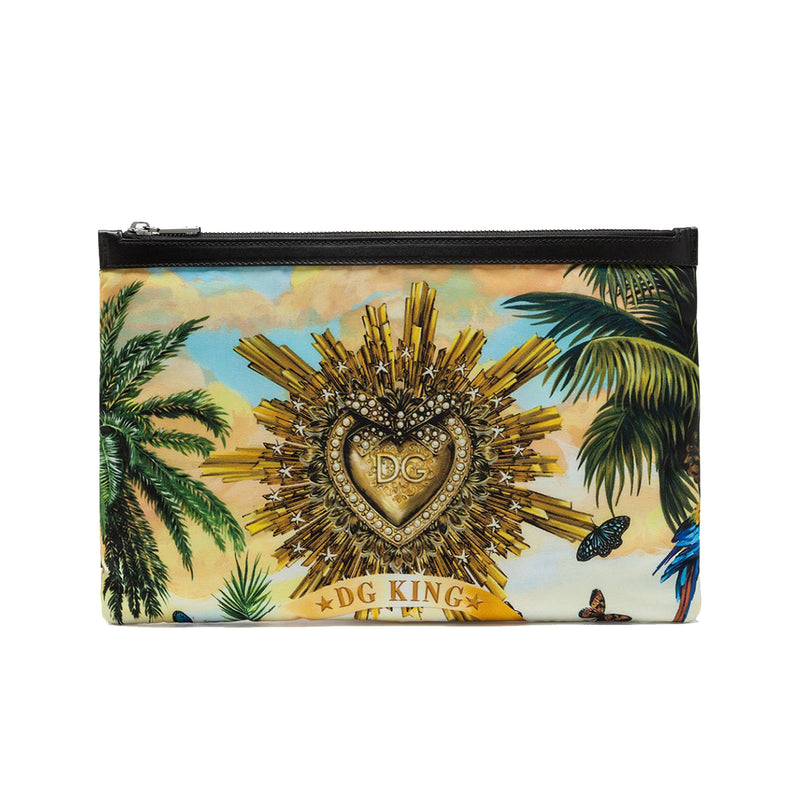 Flat Nylon Toiletry Bag with Tropical Latino Print