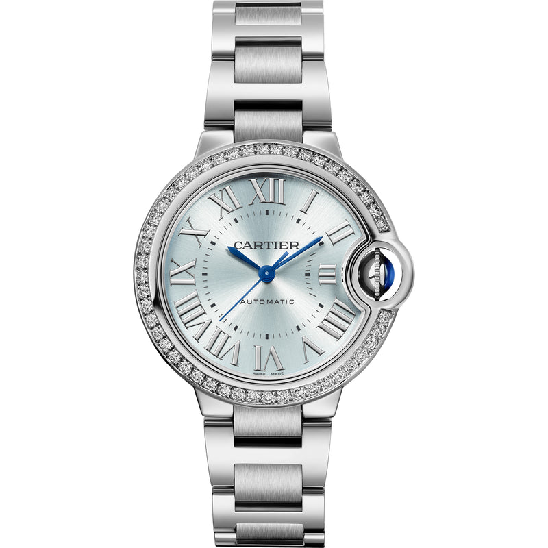 Ballon Bleu de Cartier watch, 33mm, automatic movement, steel, diamonds
