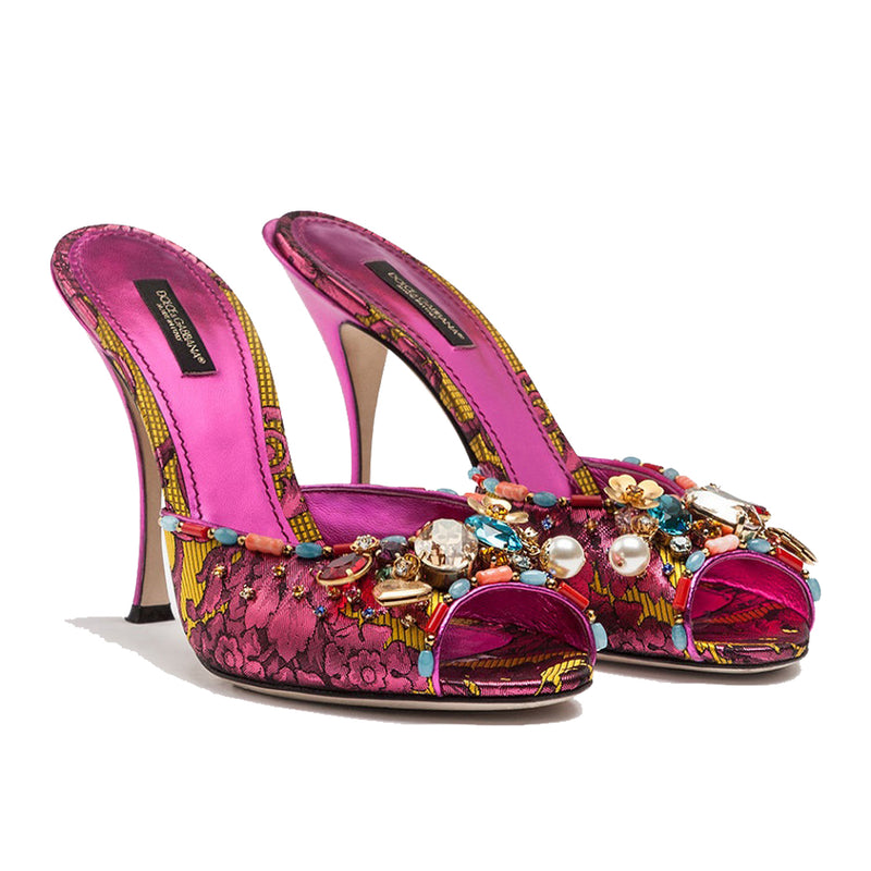 Ornamental Floral Jacquard Mules with Embroidery