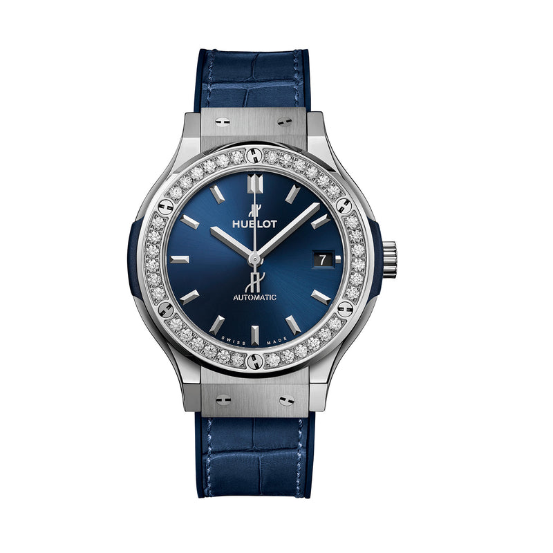 Classic Fusion Titanium Blue Diamonds 38mm