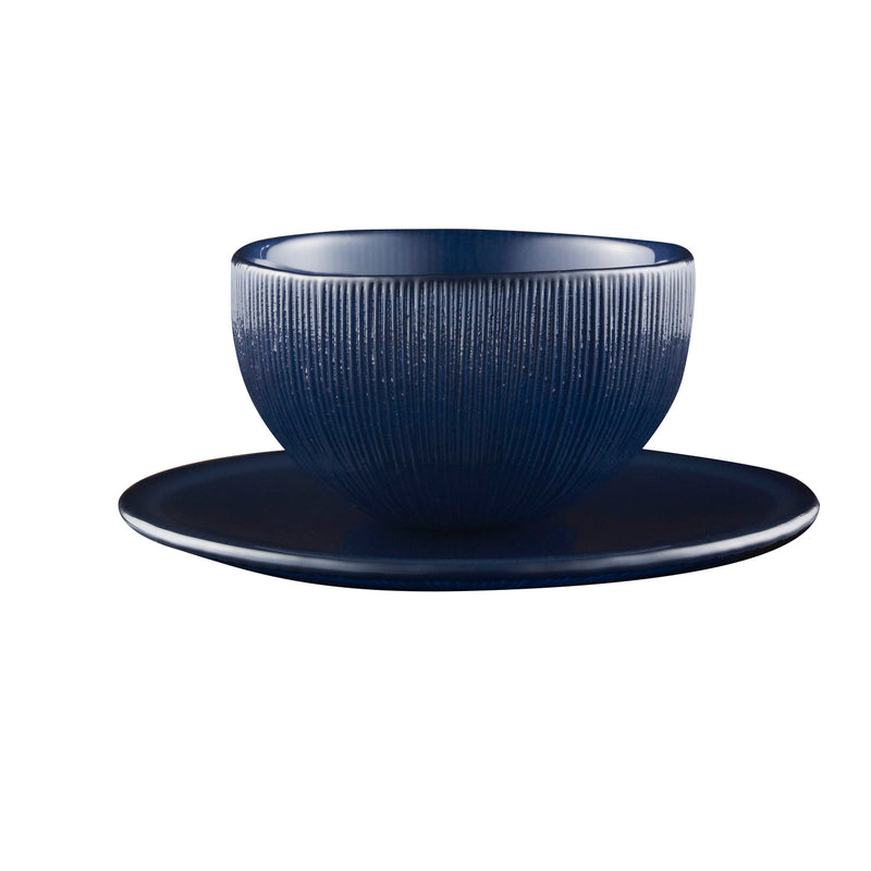 Firefly Tea Bowl & Saucer in Midnight Blue