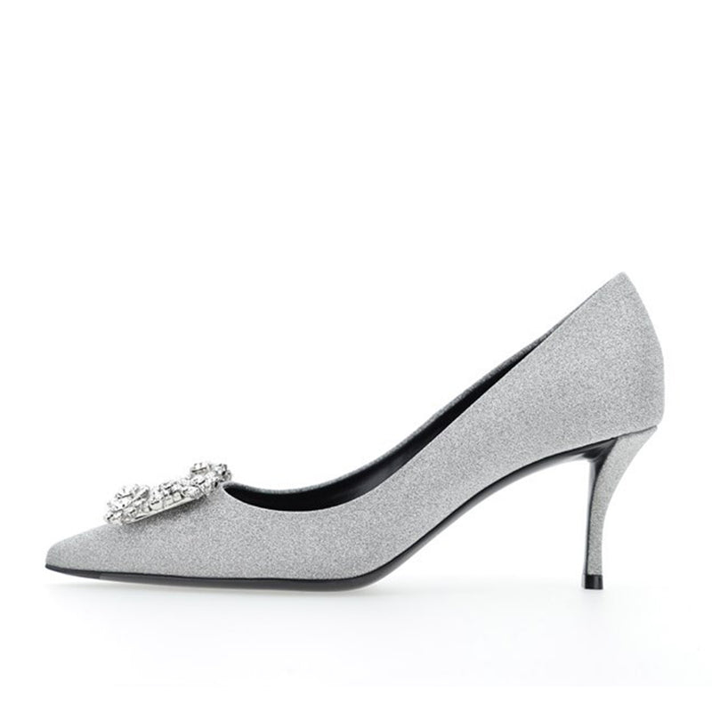 Flower Strass Buckle Pumps in Satin