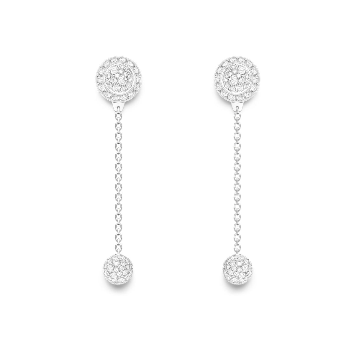 Possession earrings in 18K white gold set with 184 brilliant-cut diamonds (approx. 1.47 ct). 2 ways of wearing.