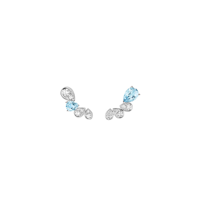 Joséphine Ronde d'Aigrettes Earrings in White Gold