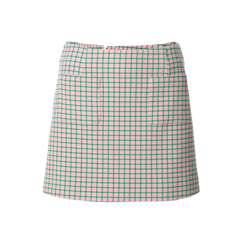 Woven Mini Skirt with Front Pocket