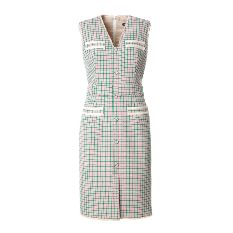 Woven Sleeveless Button Through Midi Dress