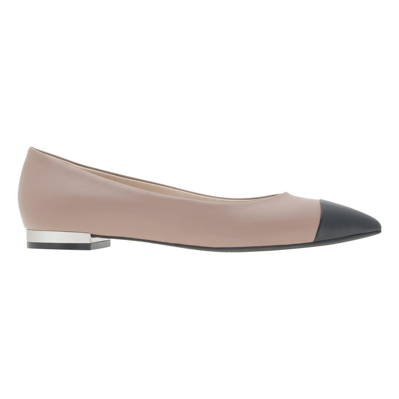 Pointed Cap Toe Leather Ballerina