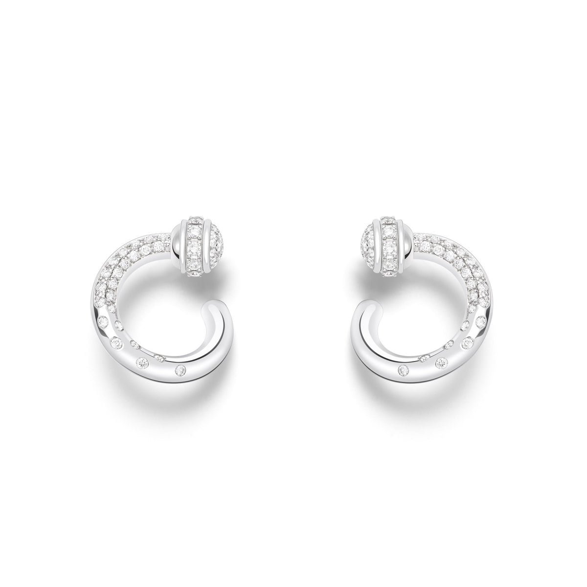 Possession open hoop earrings in 18K white gold set with 104 brilliant-cut diamonds (approx. 0.57 ct).