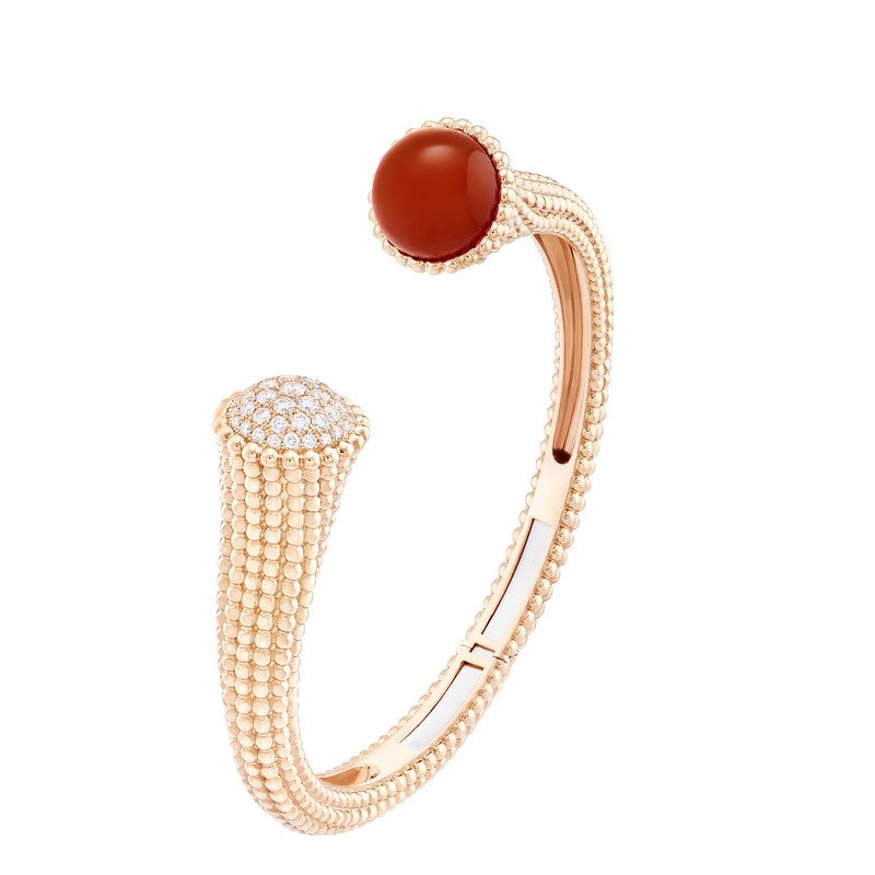 Perlee Couleurs Bracelet, Pink Gold, Carnelian, Diamonds, Medium Model