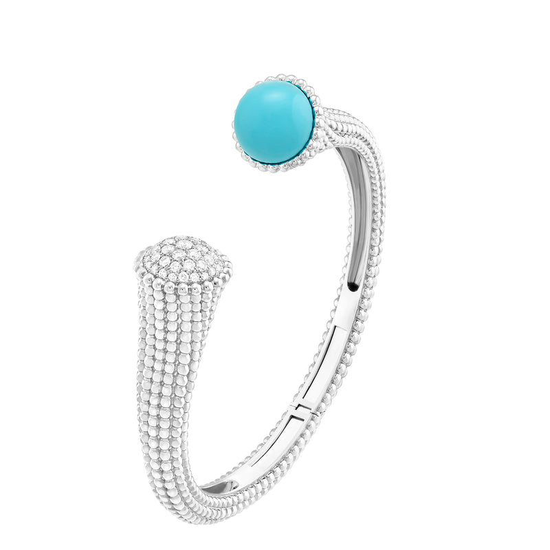 Perlée Couleurs Bracelet White Gold, Turquoise, Diamonds, Medium Model