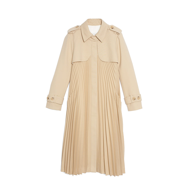 Pleated Belted Trench Coat