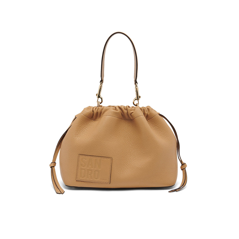 Grained Leather Bucket Bag