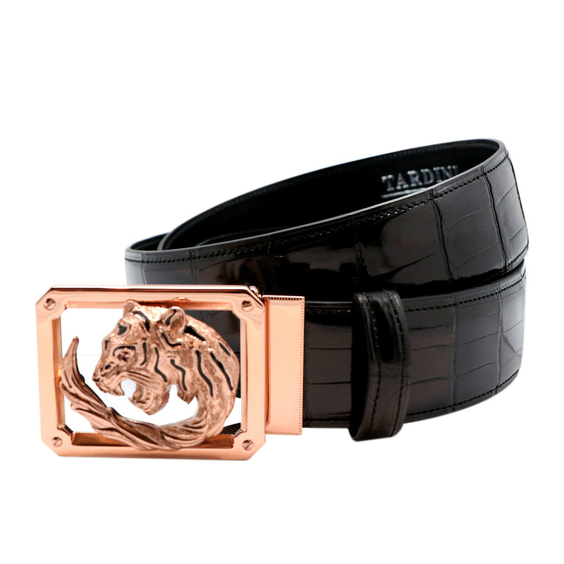 Tardini Royal Tiger Frame Crocodile Belt