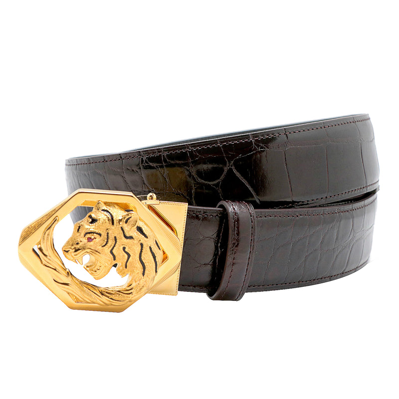 Tardini Royal Tiger Cage Crocodile Belt