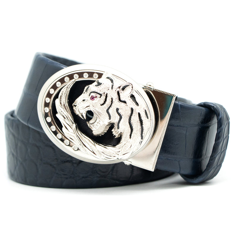 Tardini Satin Alligator Diamond Belt