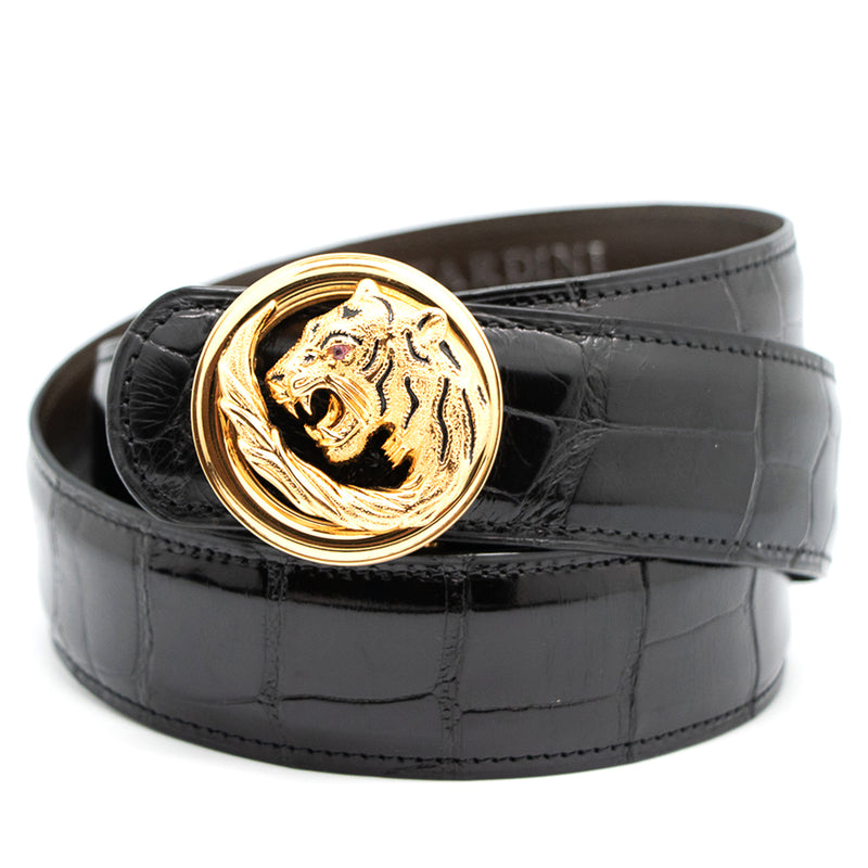 Shiny Alligator Belt With Tiger