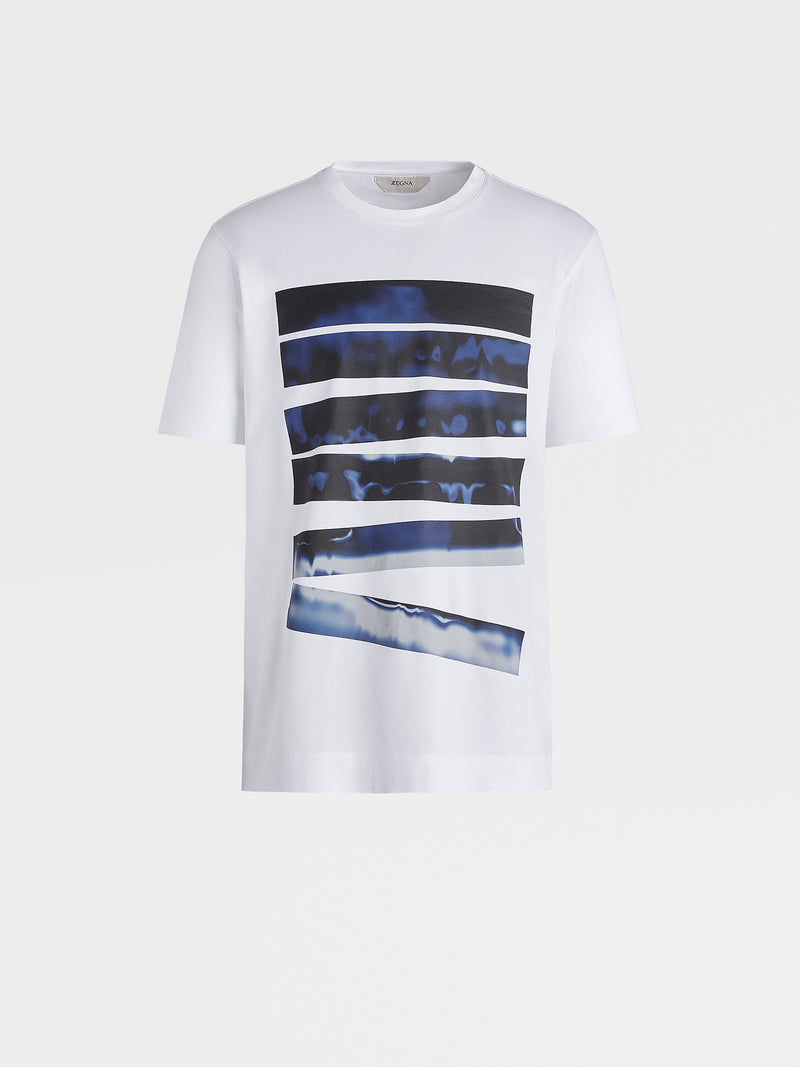 Z Zegna Blue Stripes Cotton T-Shirt