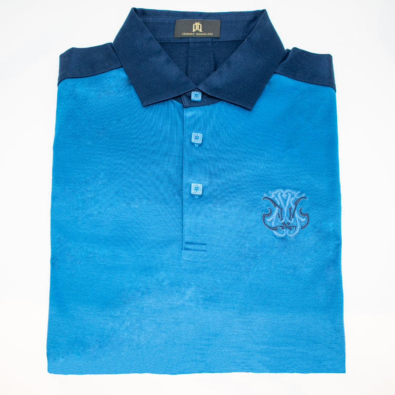 JM by Johnny Manglani 3 Button Short Sleeve Polo Shirt with Signature Embroidery