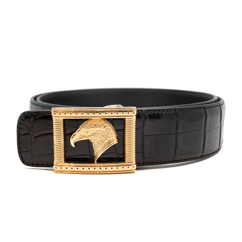 Signature Buckle Crocodile Belt