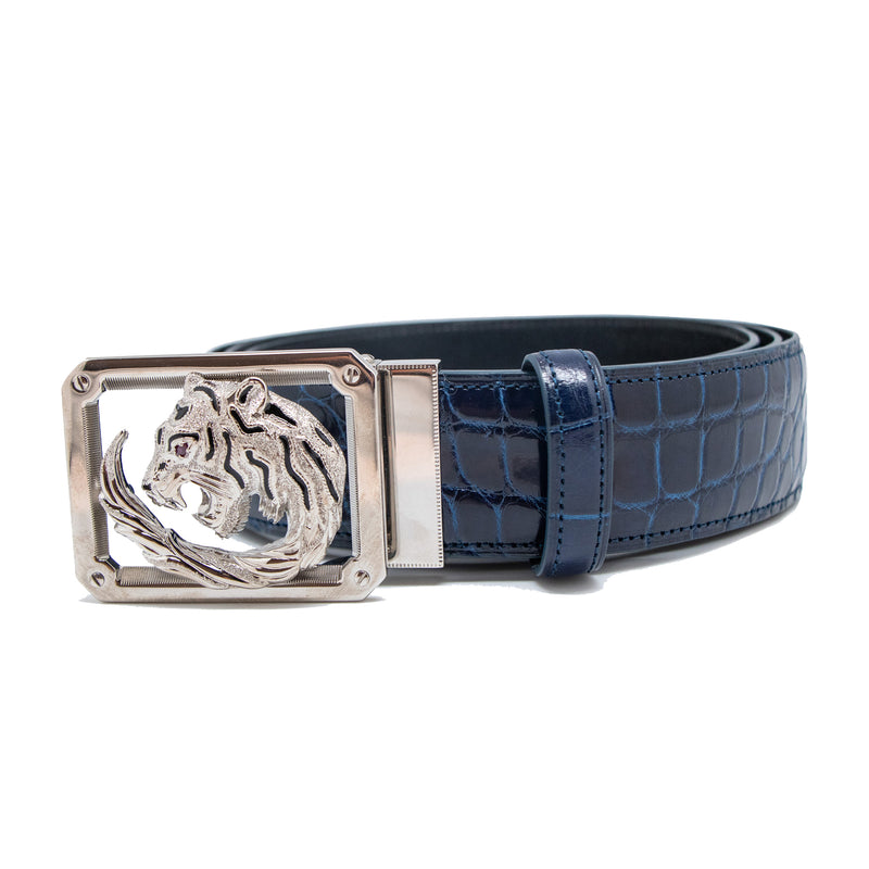 Blue Croco Belt from Tardini